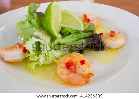 King prawns with chili butter