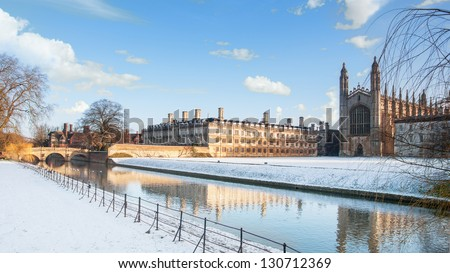 King's College seen from the River Cam, Cambridge, England - stock photo