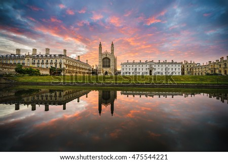 King's College with beautiful dramatic sky at sunrise in Cambridge, UK
