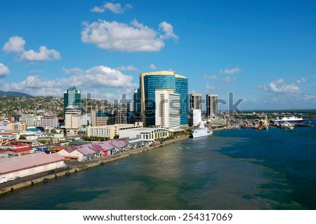 King's Wharf in Port of Spain at Trinidad  - stock photo
