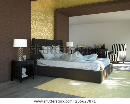 King sized bed in a business hotel room. 3d rendering - stock photo