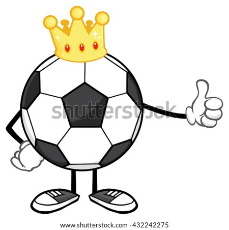 King Soccer Ball Faceless Cartoon Mascot Character With Golden Crown Giving A Thumb Up. Raster Illustration Isolated On White Background - stock photo