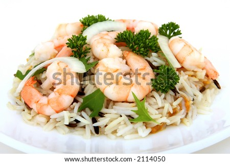 king tiger prawn shrimp on a bed of rice, macro isolated on white - stock photo