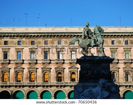 King Vittorio Emanuele II monument in Duomo cathedral square in Milan, Italy