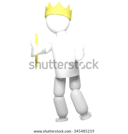 King with crown and sceptre, isolated over white, 3d render, square image - stock photo
