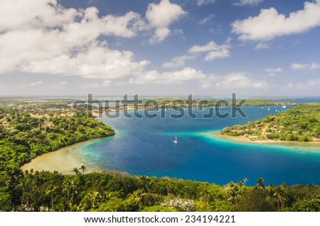 Kingdom of Tonga viewed from above - stock photo