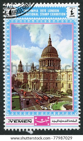 KINGDOM OF YEMEN - CIRCA 1970: A stamp printed in the Kingdom of Yemen, is devoted to International Stamp Exhibition, Philympia, London, circa 1970 - stock photo