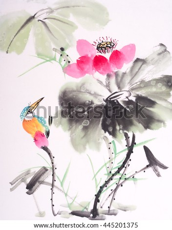 kingfisher and Lotus flower watercolor painting - stock photo
