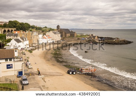KINGHORN, SCOTLAND - 20 AUGUST 2014 - RNLI  lifeboat and volunteer crew return to the slipway after an exercise at the pretty Fife coastal town of Kinghorn