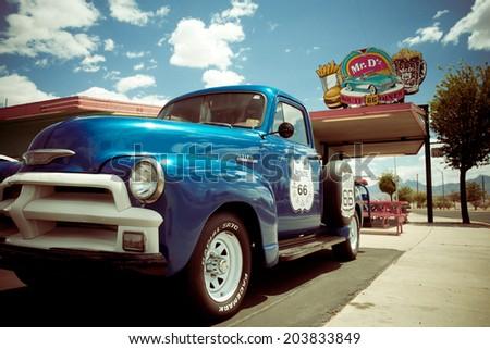 KINGMAN, AZ - MAY 8, 2014:  Roadside attraction along historic Route 66 in Kingman Arizona.   - stock photo