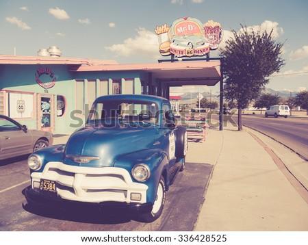 KINGMAN, USA - SEPTEMBER 06: Mr D'z in historic Route 66 on September 06, 2015 in Kingman, United States. It is an original roadside Diner. - stock photo