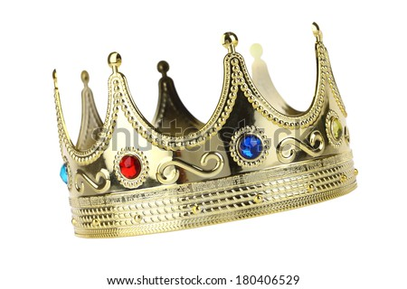 Kings crown cutout, isolated on white background - stock photo