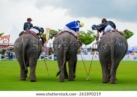 Kings Cup Elephant Polo 2014 Bangkok at VR sports club. Unidentified polo players - stock photo