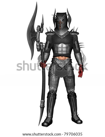 Kings Guard or Renegade Knight in full suit of armor. Bloody hands from battle Standing tall holding battle axe. Isolated illustration clean white background. - stock photo