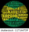 Kingston capital city of Jamaica info-text graphics and arrangement concept on black background (word cloud) - stock photo