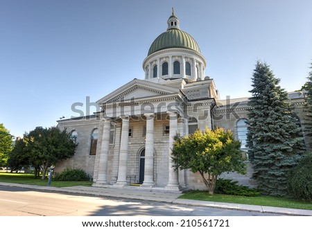 KINGSTON, ONTARIO - JULY 5, 2014: St. George's Cathedral in Kingston, Ontario. It is the cathedral church of the Anglican Diocese of Ontario.