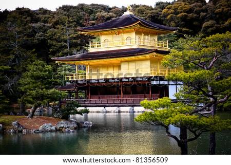 Kinkaku-ji Golden Temple at Kyoto, one of famous world heritage site in Japan - stock photo