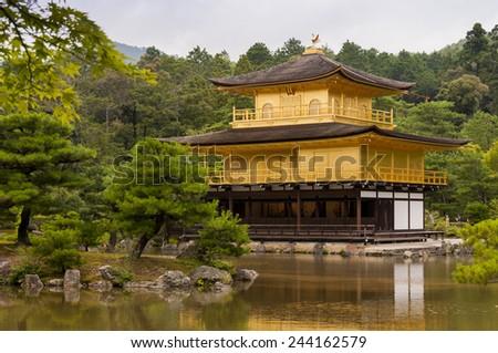 Kinkakuji - golden historic pavilion in Kyoto, Japan - stock photo