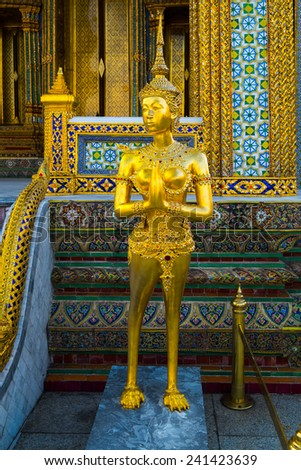 Kinnara from the famous emerald temple Bangkok, Thailand - stock photo