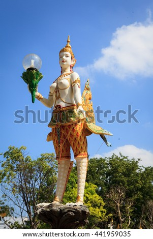 Kinnaree Decorated Lamp Street lantern in traditional Thai style. - stock photo