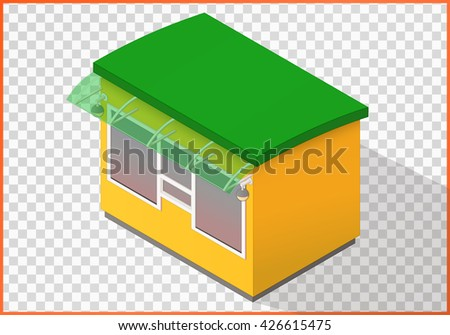 Kiosk flat 3d illustration. Counter isometric perspective view. - stock photo
