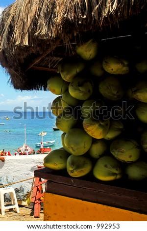 Kiosk of coconut sale - stock photo