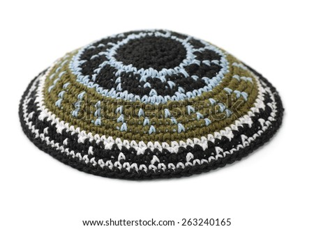 Kippah - traditional jewish headwear isolated on white - stock photo