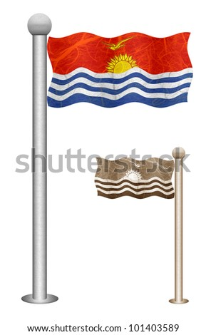 Kiribati flag waving on the wind. Flags of countries in Oceania. Mulberry paper on white background.