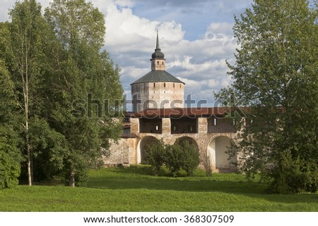 Kirillov, Vologda region, Russia - August 9, 2015: Fortress wall the Big Assumption Monastery and Blacksmith tower in Kirillo-Belozersky Monastery