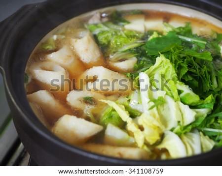 Kiritanpo Nabe. Rice Stick Hot Pot - stock photo