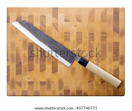 Kiritsuke big knife on board (top view) isolated on white. - stock photo
