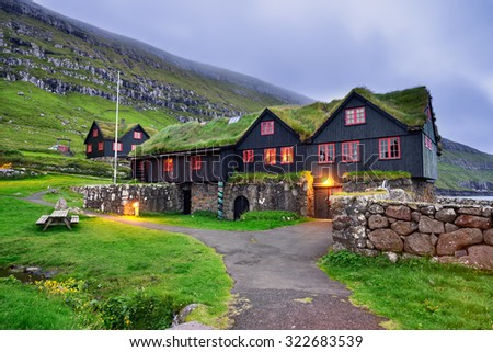 Kirkjuboargardur,  also called Roykstovan, is a historic farm and museum in Kirkjubour, Faroe Islands. Built in the 11th century it is one of the oldest still inhabited wooden houses of the world. - stock photo
