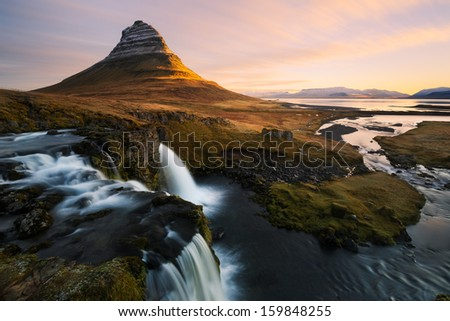 Kirkjufell in Iceland - stock photo