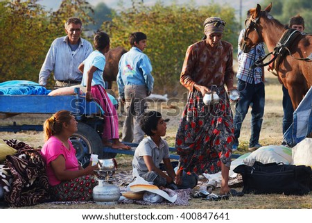 Kirklareli,Turkey-September 14 2012:Local and nomadic people meet in Pavli fair.It is a traditional fair and once in a year thousands of people visit. Culture of the fair is based on Gypsy lifestyle - stock photo