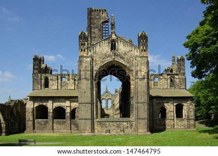 Kirkstall Abbey in Leeds, UK in summer day - stock photo