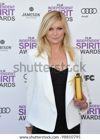 Kirsten Dunst at the 2012 Film Independent Spirit Awards on the beach in Santa Monica, CA. February 25, 2012  Santa Monica, CA Picture: Paul Smith / Featureflash - stock photo