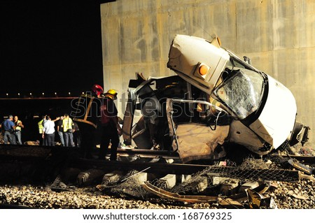 KIRYAT GAT, ISR - AUG 05:Train collided with a minibus on Aug 05 2010.Around 15,000 people killed every year in rail accidents - stock photo