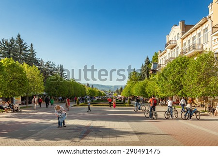 KISLOVODSK, RUSSIA - MAY 20 2015: Kurortny boulevard is main attraction street for tourists in city full of shops and restaurants.