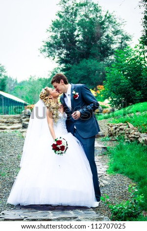 Kiss bride and groom on their wedding day - stock photo