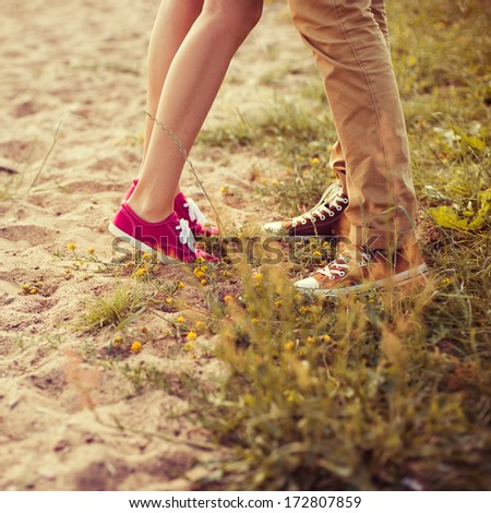 kiss loving couple - stock photo