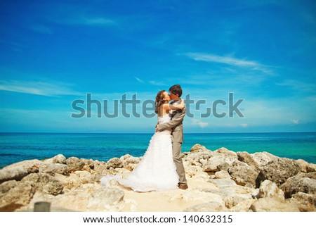 kiss near the ocean - stock photo