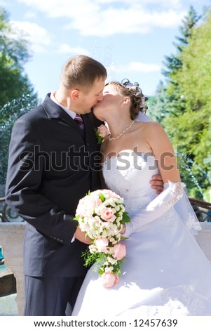 kiss of a bride and a groom