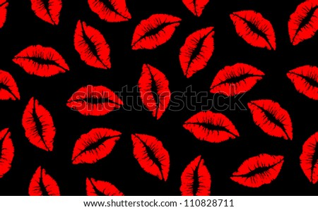 Stock Images similar to ID 33211237 - red lips on black ...