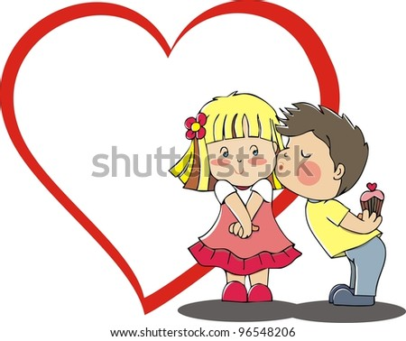 kissing children couple - stock photo