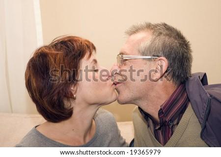kissing couple - stock photo