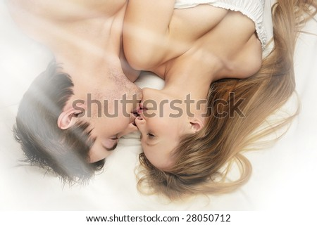 kissing in morning - stock photo