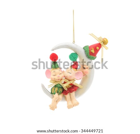 Kissing mice and half moon. Christmas decoration isolated on a white - stock photo