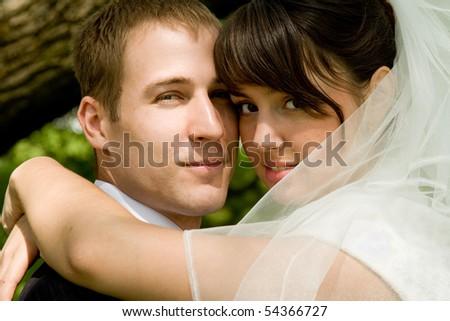 Kissing wedding - stock photo
