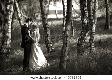 Kissing Wedding Couple in Birch Forest