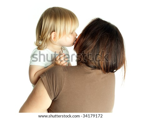 kissing with love one's mum little girl - stock photo